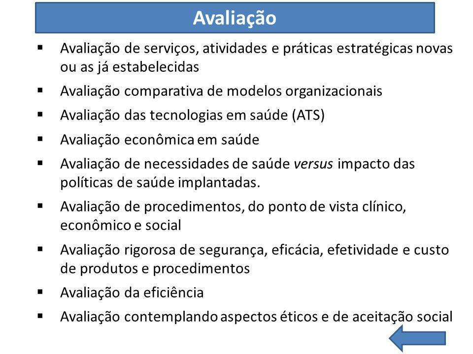 Avaliação Avaliação de serviços, atividades e práticas estratégicas novas ou as já estabelecidas. Avaliação comparativa de modelos organizacionais.