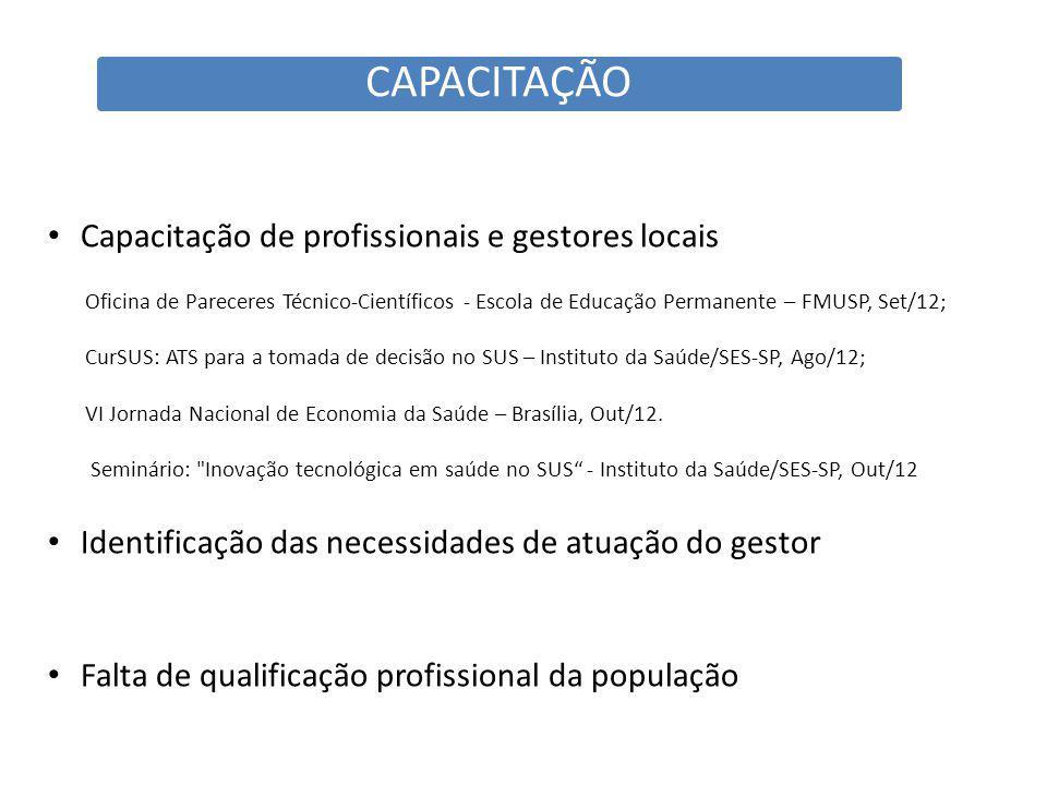 CAPACITAÇÃO Capacitação de profissionais e gestores locais