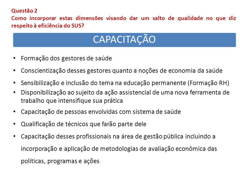CAPACITAÇÃO Formação dos gestores de saúde