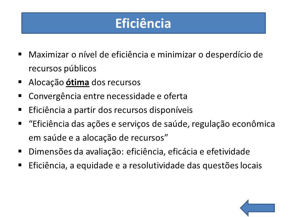 Eficiência Maximizar o nível de eficiência e minimizar o desperdício de recursos públicos. Alocação ótima dos recursos.