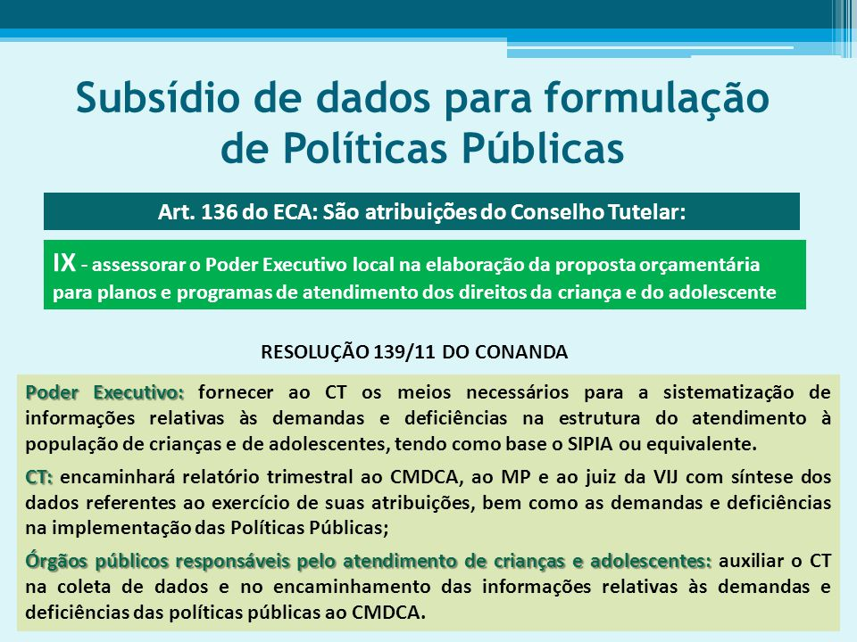 Subsídio de dados para formulação de Políticas Públicas