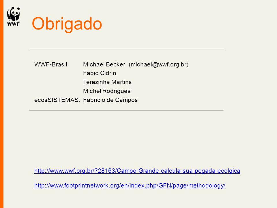 Obrigado WWF-Brasil: Michael Becker (michael@wwf.org.br) Fabio Cidrin