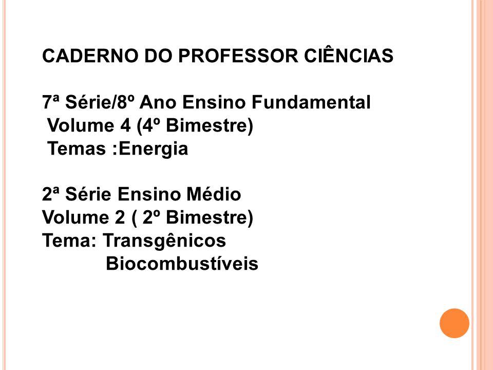 CADERNO DO PROFESSOR CIÊNCIAS