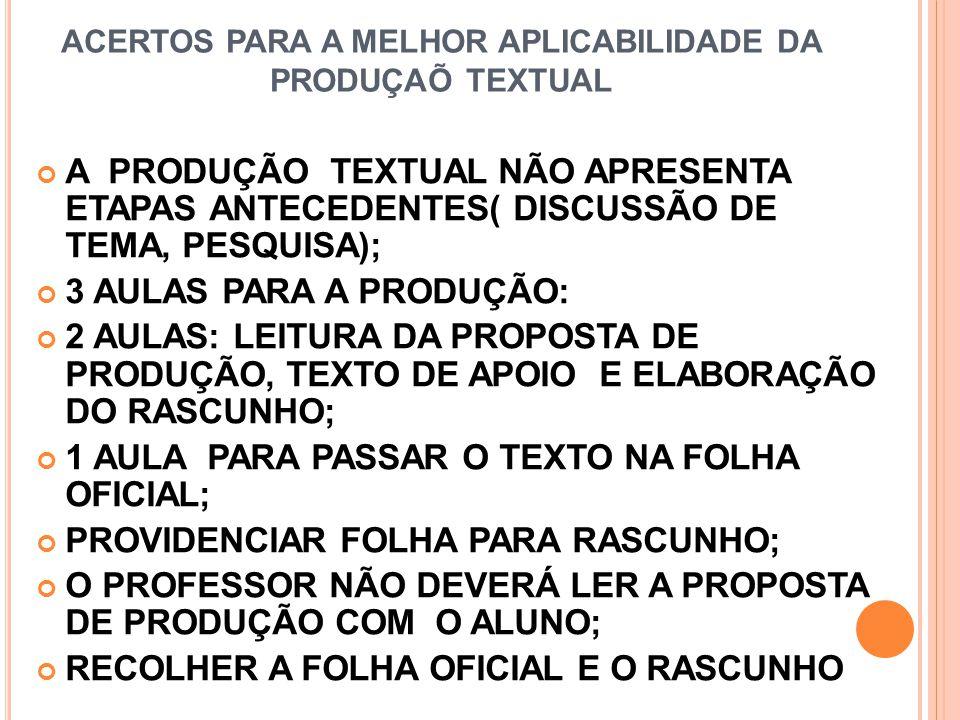 ACERTOS PARA A MELHOR APLICABILIDADE DA PRODUÇAÕ TEXTUAL