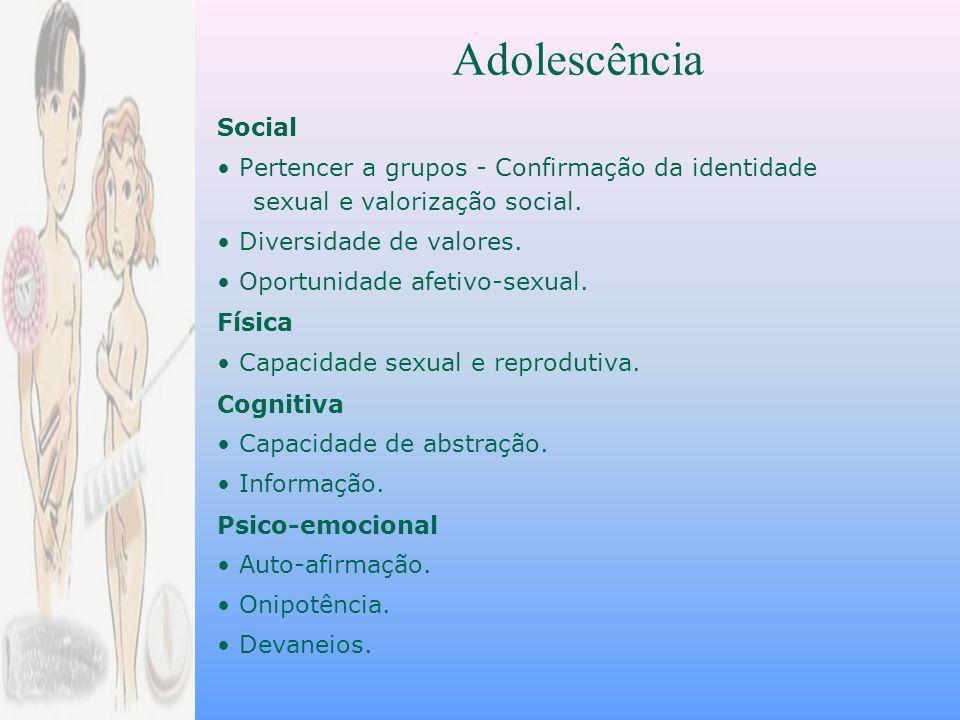 Adolescência Social. • Pertencer a grupos - Confirmação da identidade sexual e valorização social.