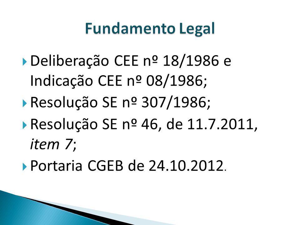 Fundamento Legal Deliberação CEE nº 18/1986 e Indicação CEE nº 08/1986; Resolução SE nº 307/1986;