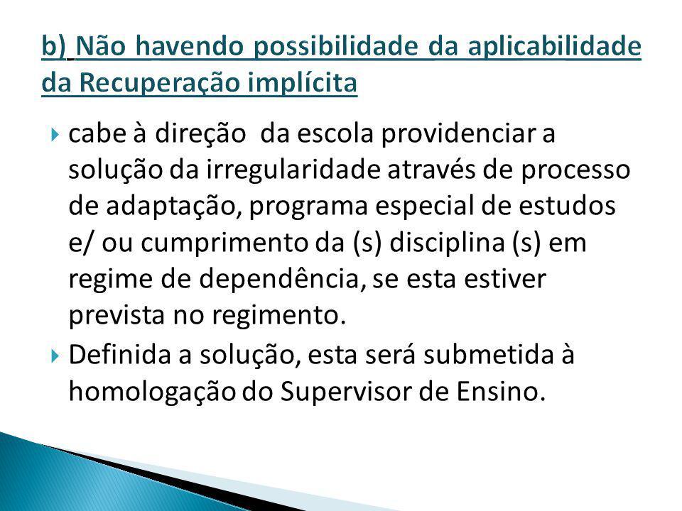 b) Não havendo possibilidade da aplicabilidade da Recuperação implícita