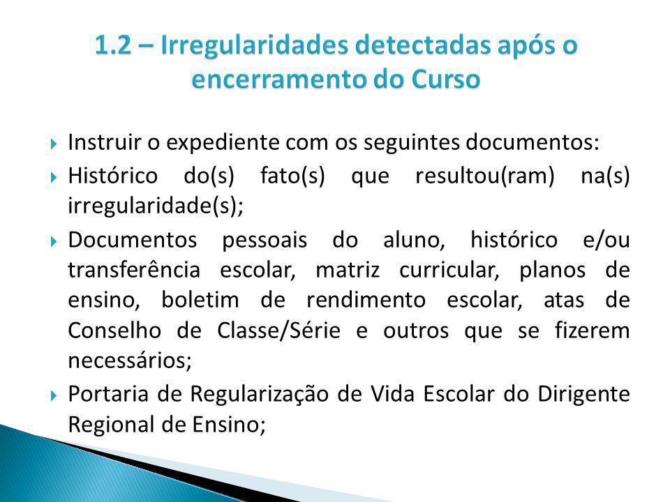 1.2 – Irregularidades detectadas após o encerramento do Curso