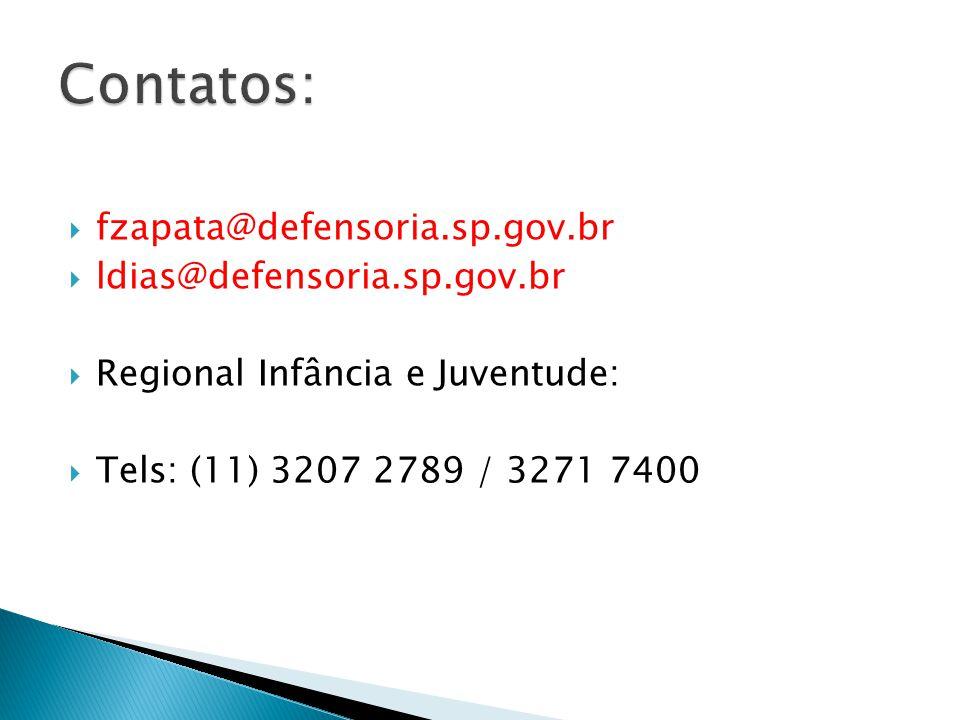Contatos: fzapata@defensoria.sp.gov.br ldias@defensoria.sp.gov.br