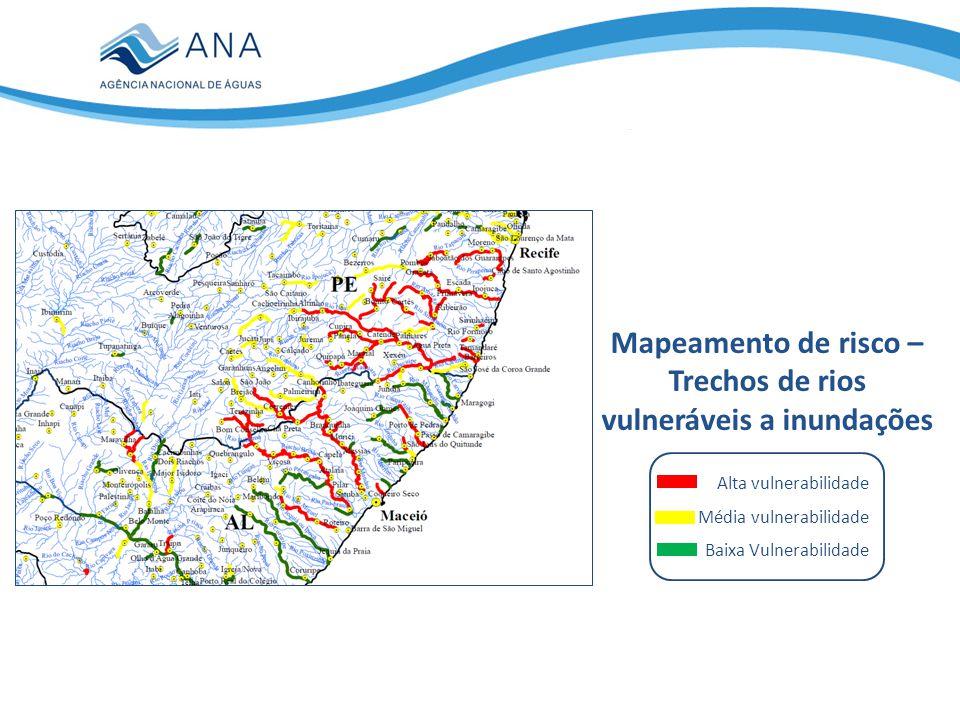 Mapeamento de risco – Trechos de rios vulneráveis a inundações