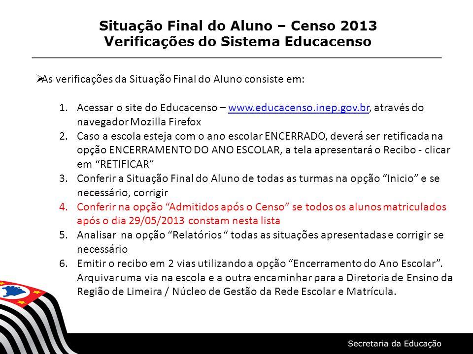 Situação Final do Aluno – Censo 2013 Verificações do Sistema Educacenso