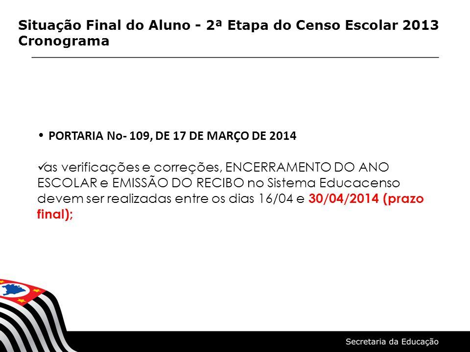 Situação Final do Aluno - 2ª Etapa do Censo Escolar 2013