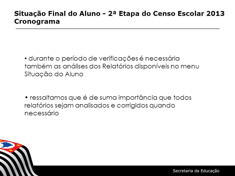 Situação Final do Aluno - 2ª Etapa do Censo Escolar 2013 Cronograma