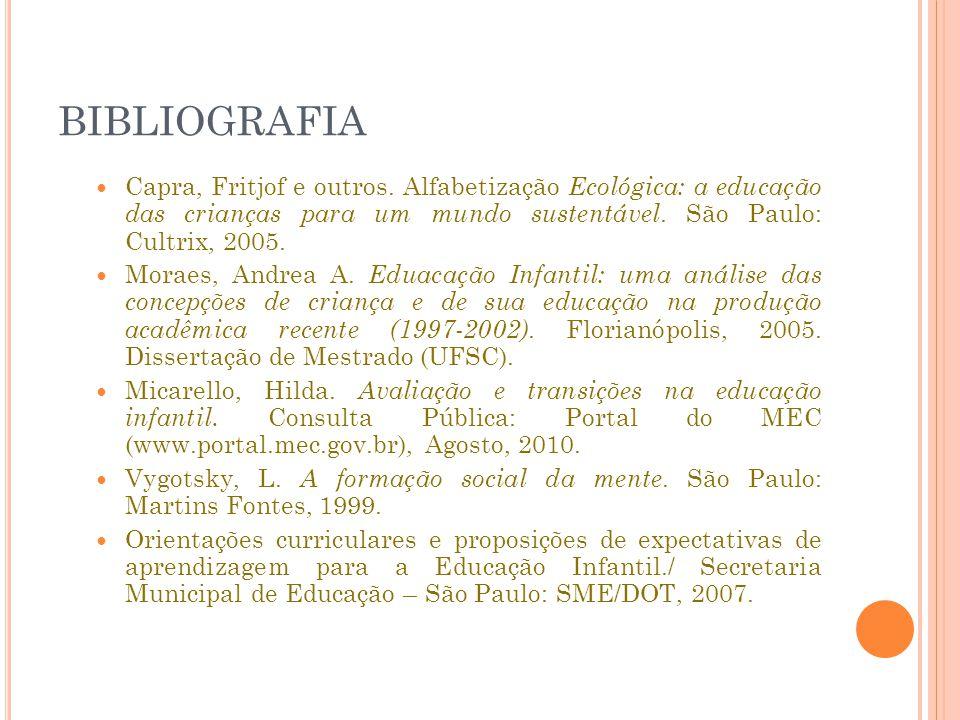 BIBLIOGRAFIA Capra, Fritjof e outros. Alfabetização Ecológica: a educação das crianças para um mundo sustentável. São Paulo: Cultrix, 2005.
