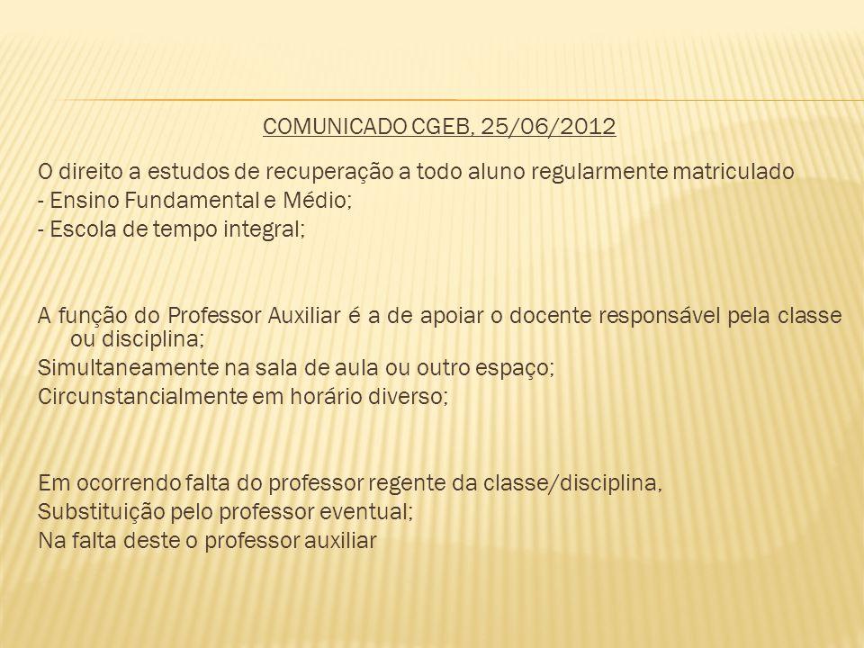 COMUNICADO CGEB, 25/06/2012 O direito a estudos de recuperação a todo aluno regularmente matriculado.