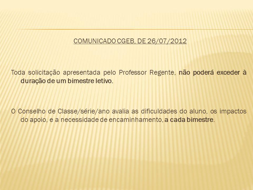 COMUNICADO CGEB, DE 26/07/2012 Toda solicitação apresentada pelo Professor Regente, não poderá exceder à duração de um bimestre letivo.