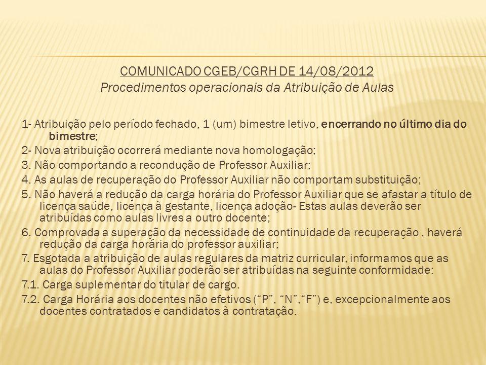 COMUNICADO CGEB/CGRH DE 14/08/2012