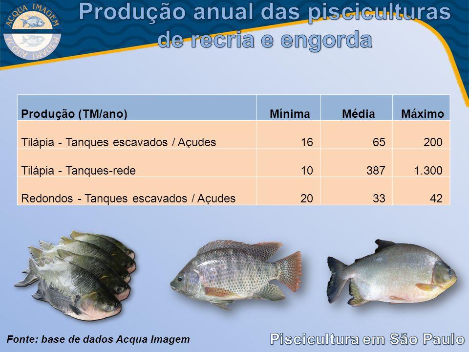 Produção anual das pisciculturas de recria e engorda