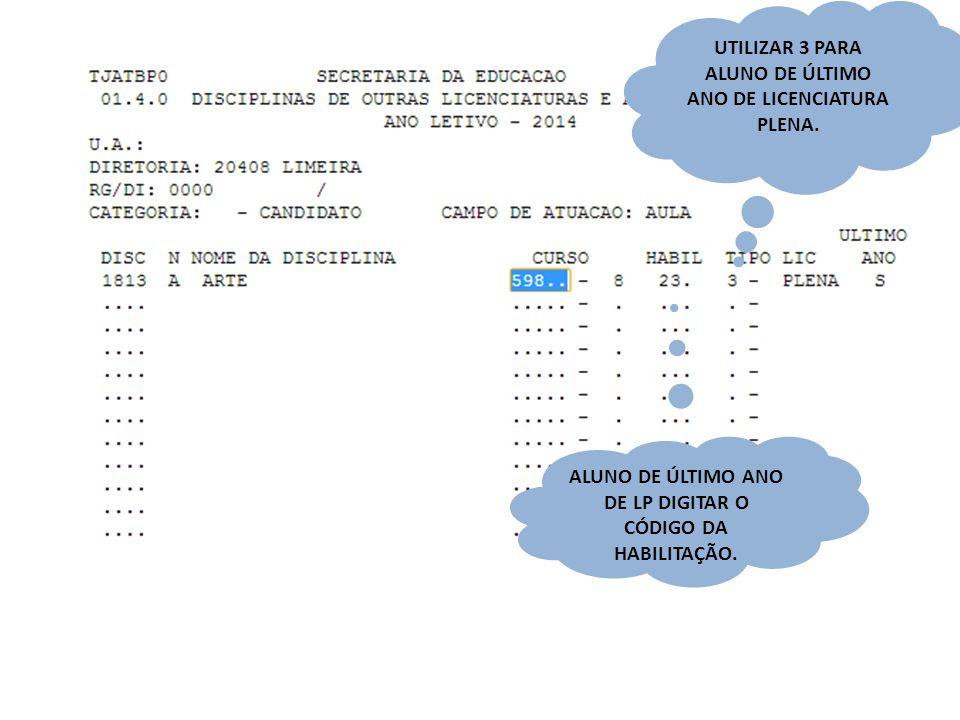 UTILIZAR 3 PARA ALUNO DE ÚLTIMO ANO DE LICENCIATURA PLENA.