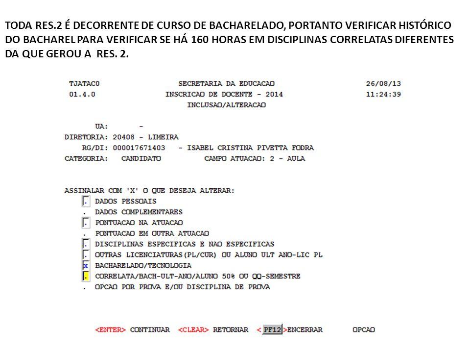 TODA RES.2 É DECORRENTE DE CURSO DE BACHARELADO, PORTANTO VERIFICAR HISTÓRICO DO BACHAREL PARA VERIFICAR SE HÁ 160 HORAS EM DISCIPLINAS CORRELATAS DIFERENTES DA QUE GEROU A RES.