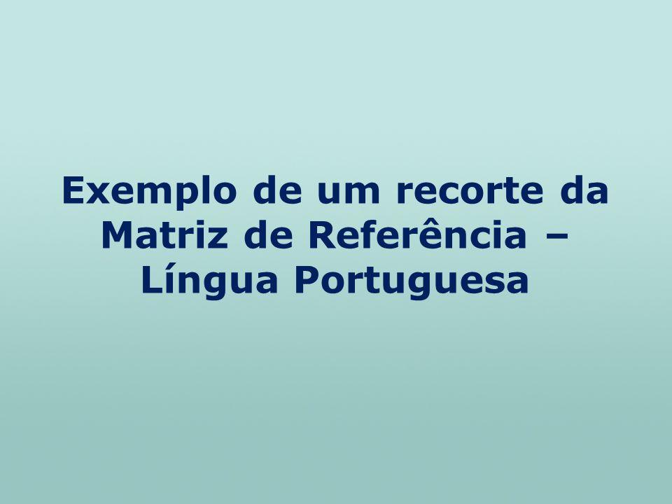 Exemplo de um recorte da Matriz de Referência – Língua Portuguesa