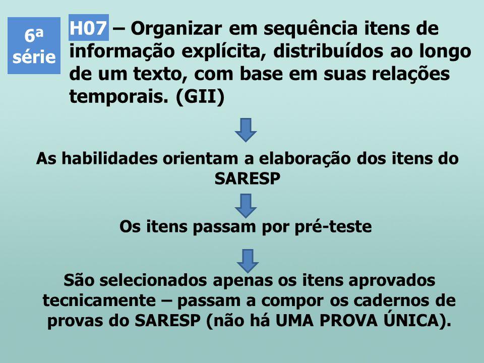 H07 – Organizar em sequência itens de informação explícita, distribuídos ao longo de um texto, com base em suas relações temporais. (GII)