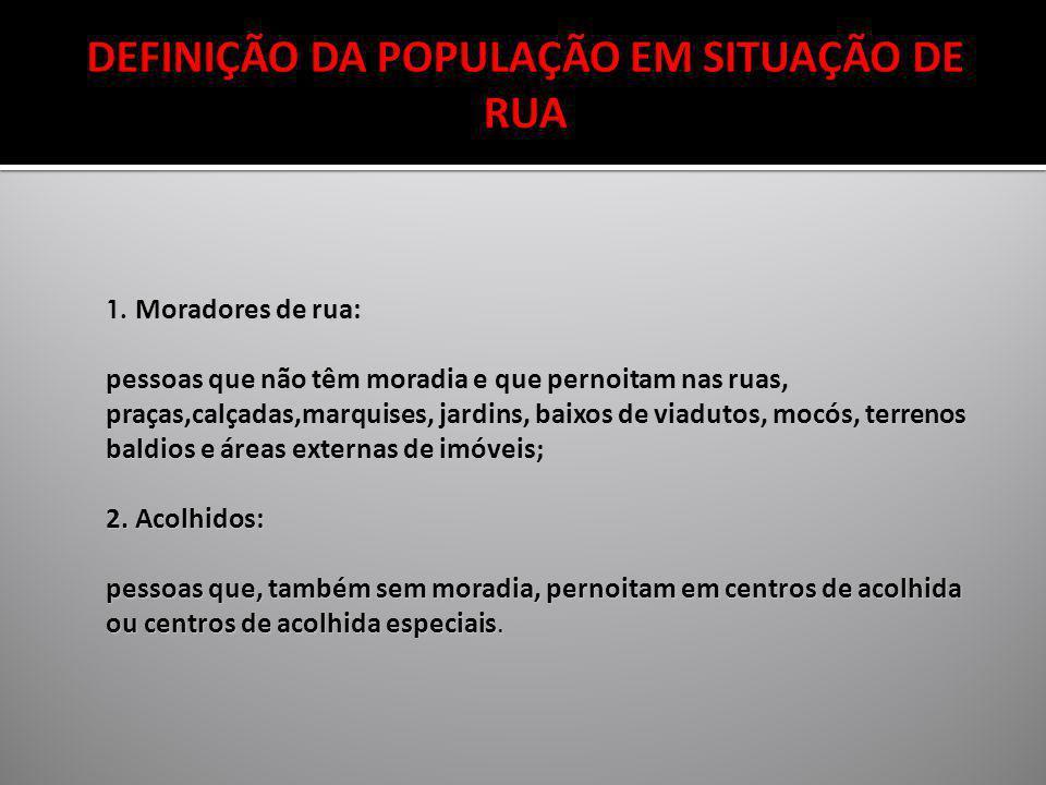 DEFINIÇÃO DA POPULAÇÃO EM SITUAÇÃO DE RUA