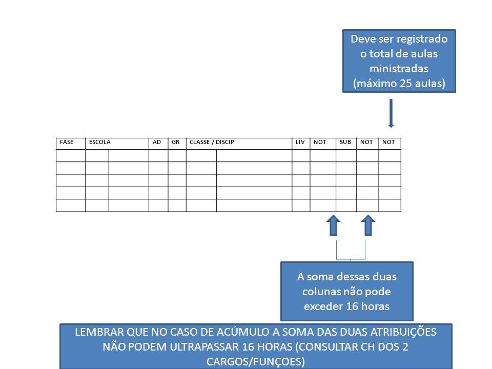 Deve ser registrado o total de aulas ministradas (máximo 25 aulas)