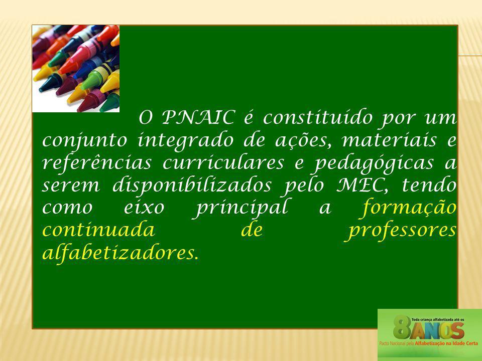 O PNAIC é constituído por um conjunto integrado de ações, materiais e referências curriculares e pedagógicas a serem disponibilizados pelo MEC, tendo como eixo principal a formação continuada de professores alfabetizadores.
