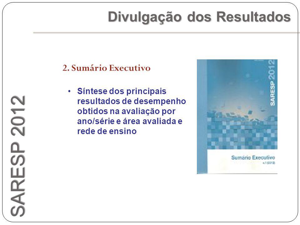 SARESP 2012 Divulgação dos Resultados 2. Sumário Executivo