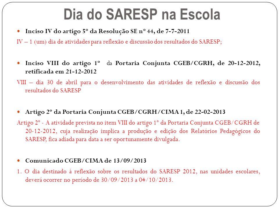 Dia do SARESP na Escola Inciso IV do artigo 5º da Resolução SE nº 44, de 7-7-2011.