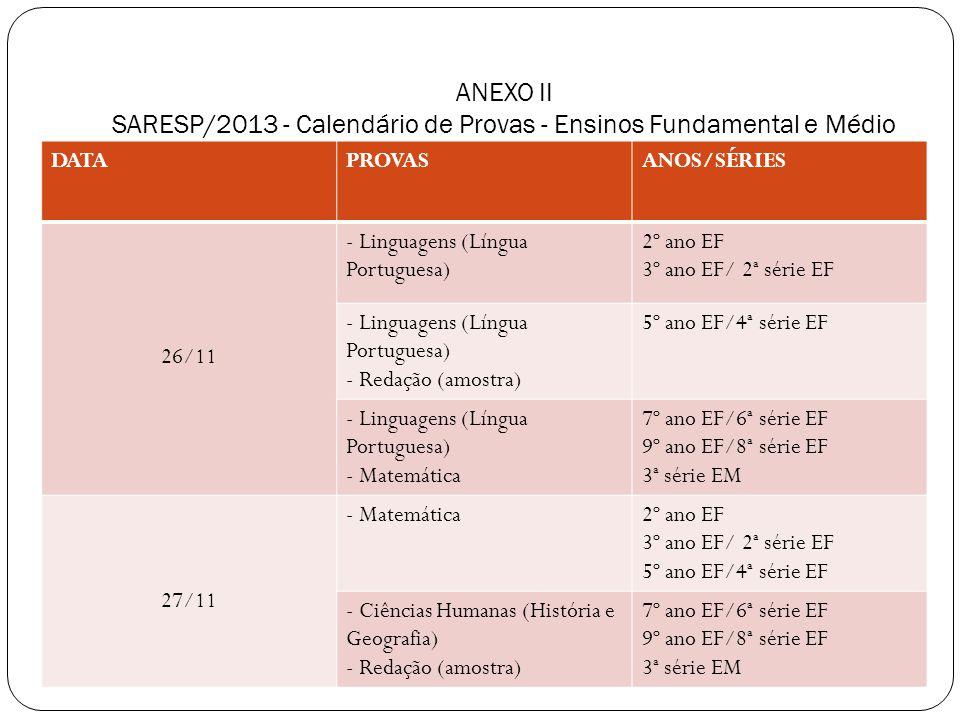 ANEXO II SARESP/2013 - Calendário de Provas - Ensinos Fundamental e Médio