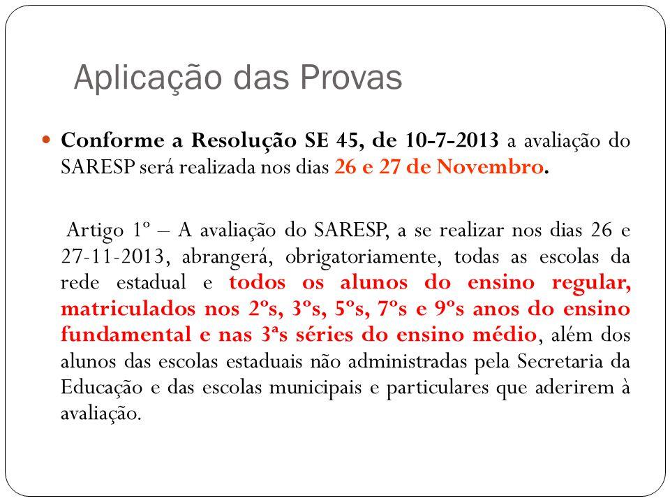Aplicação das Provas Conforme a Resolução SE 45, de 10-7-2013 a avaliação do SARESP será realizada nos dias 26 e 27 de Novembro.