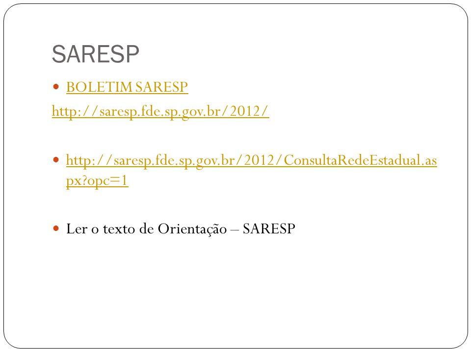 SARESP BOLETIM SARESP http://saresp.fde.sp.gov.br/2012/