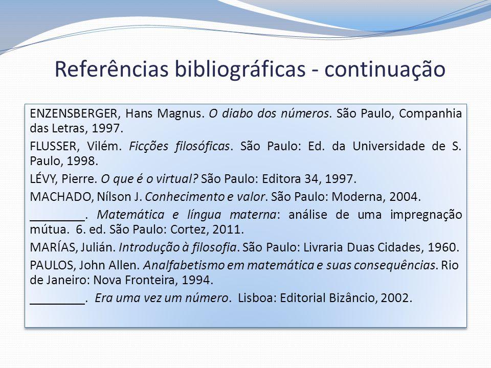 Referências bibliográficas - continuação