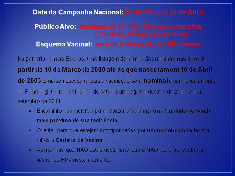 Data da Campanha Nacional: 10 de Março a 10 de Abril