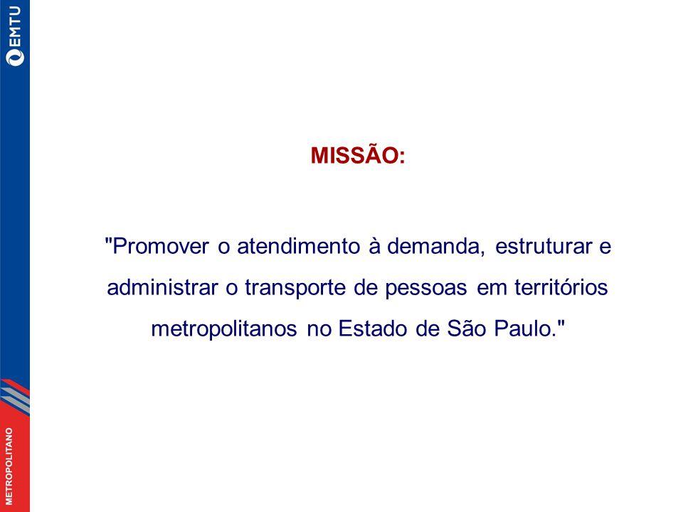 MISSÃO: Promover o atendimento à demanda, estruturar e administrar o transporte de pessoas em territórios metropolitanos no Estado de São Paulo.