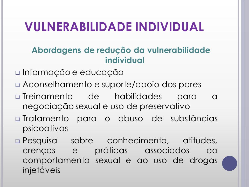 VULNERABILIDADE INDIVIDUAL