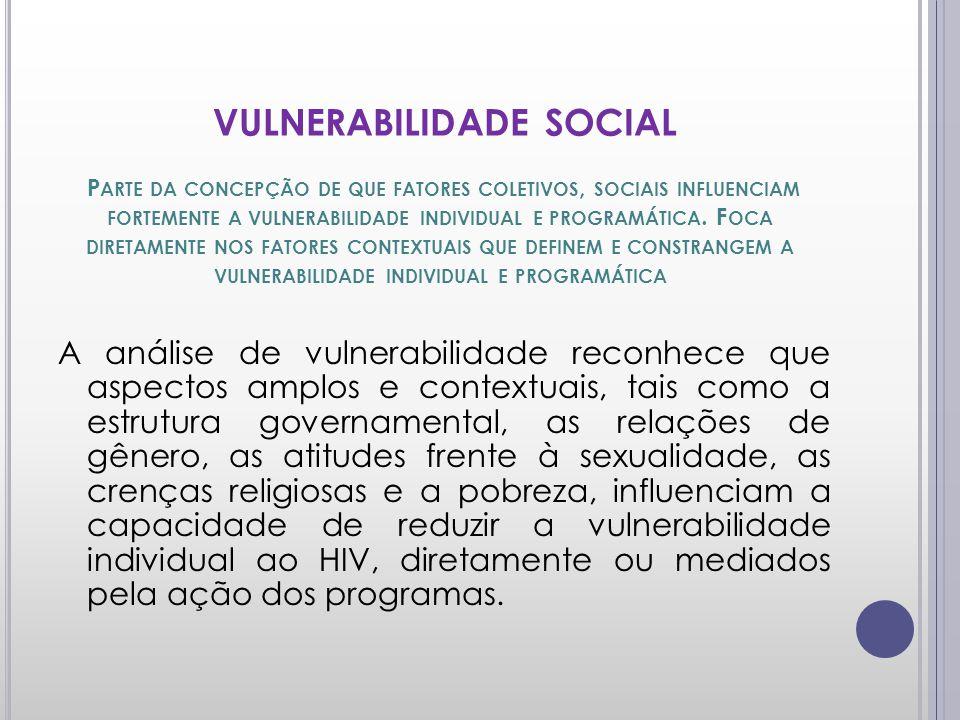 VULNERABILIDADE SOCIAL Parte da concepção de que fatores coletivos, sociais influenciam fortemente a vulnerabilidade individual e programática. Foca diretamente nos fatores contextuais que definem e constrangem a vulnerabilidade individual e programática