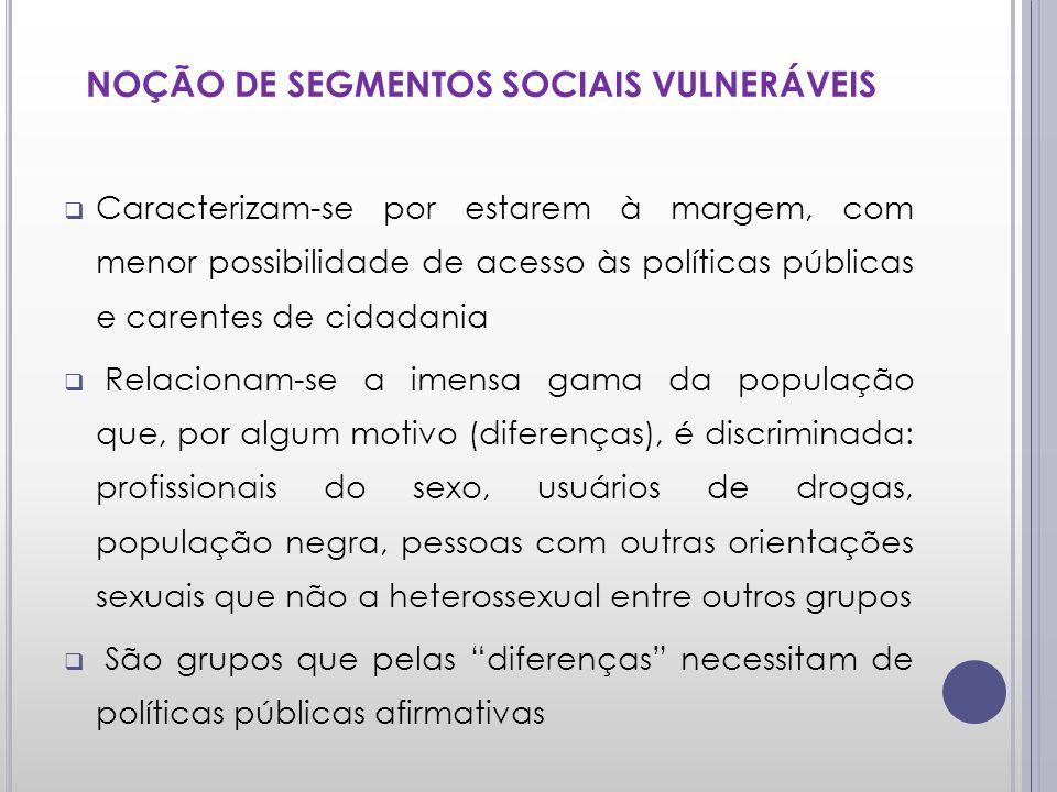 NOÇÃO DE SEGMENTOS SOCIAIS VULNERÁVEIS