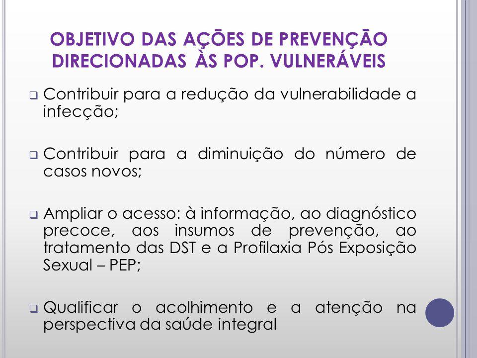 OBJETIVO DAS AÇÕES DE PREVENÇÃO DIRECIONADAS ÀS POP. VULNERÁVEIS