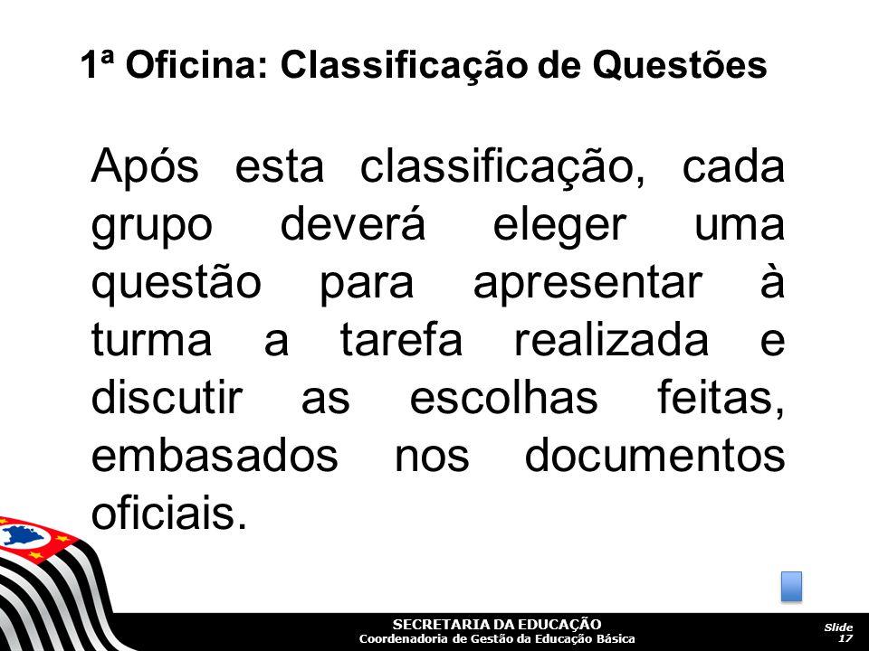 1ª Oficina: Classificação de Questões