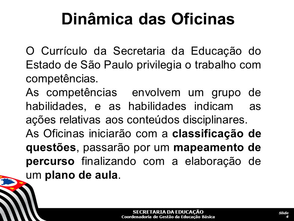 Dinâmica das Oficinas O Currículo da Secretaria da Educação do Estado de São Paulo privilegia o trabalho com competências.