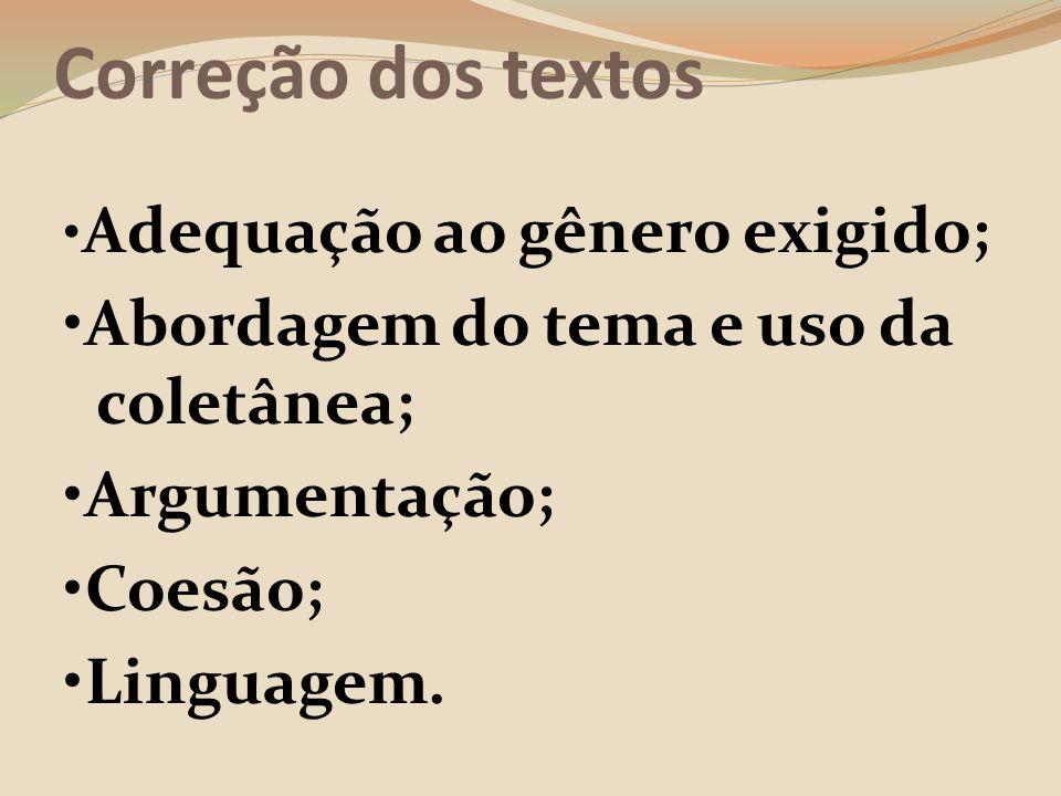 Correção dos textos •Abordagem do tema e uso da coletânea;