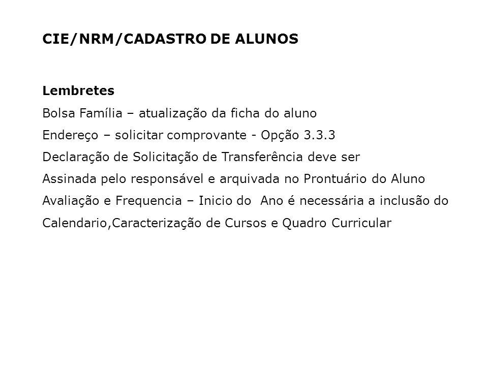 CIE/NRM/CADASTRO DE ALUNOS