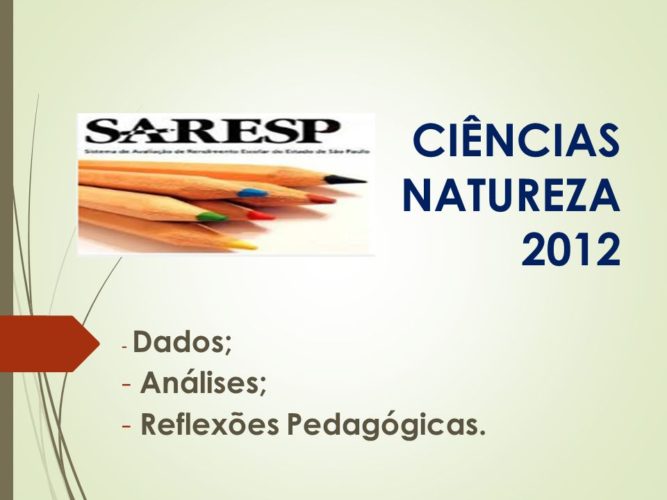 SARESP – CIÊNCIAS DA NATUREZA 2012