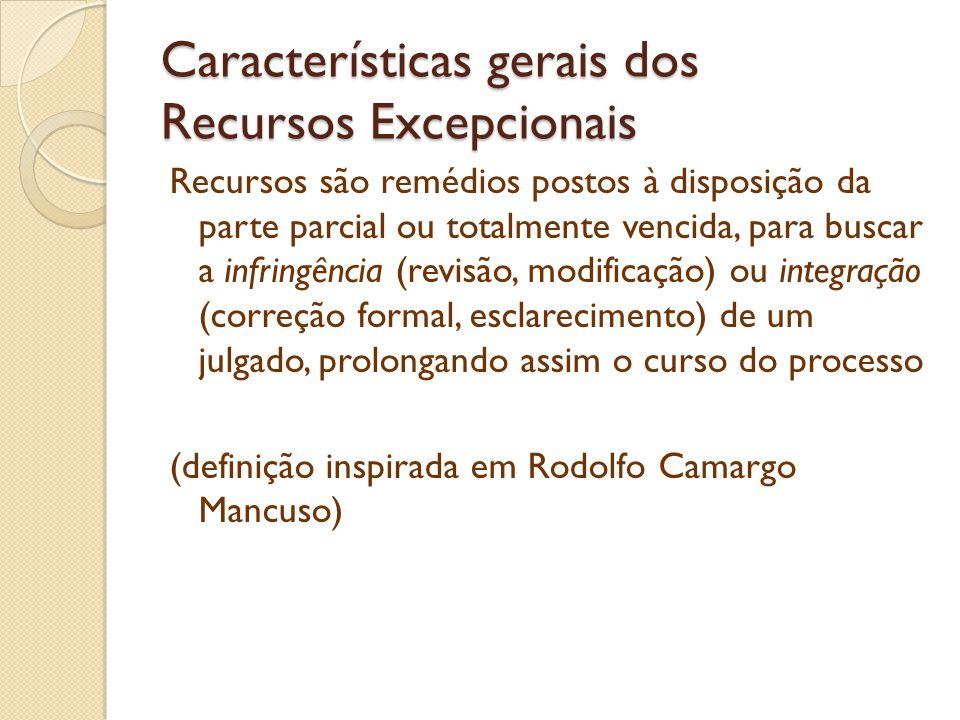 Características gerais dos Recursos Excepcionais