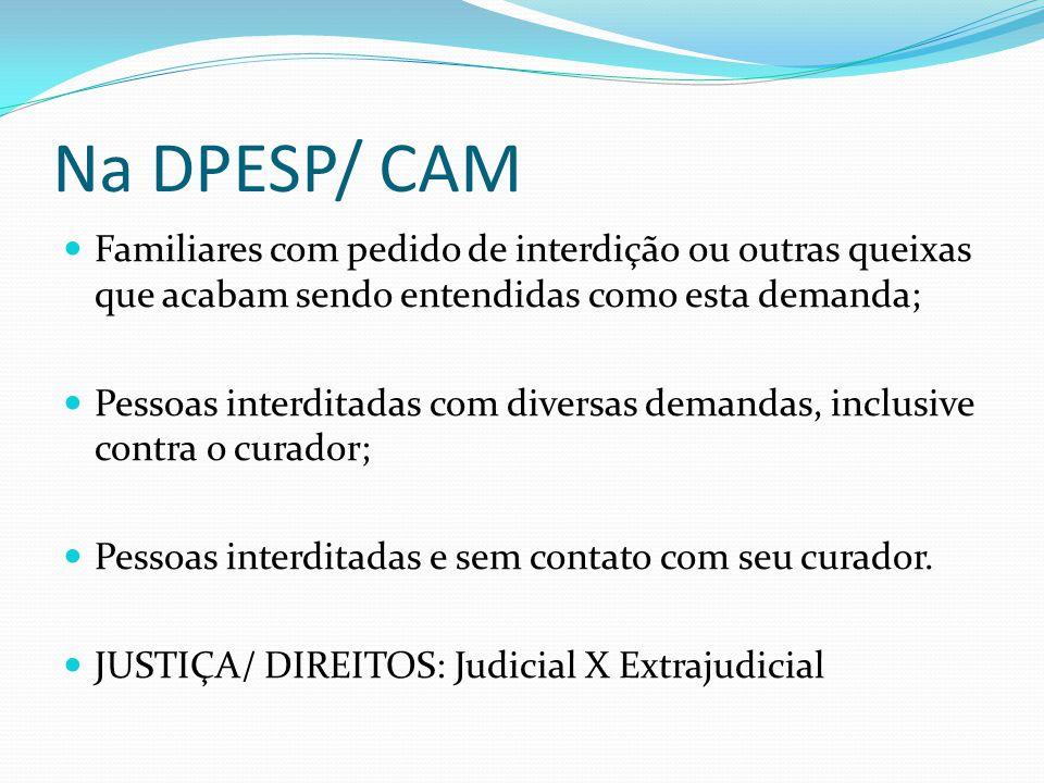 Na DPESP/ CAM Familiares com pedido de interdição ou outras queixas que acabam sendo entendidas como esta demanda;