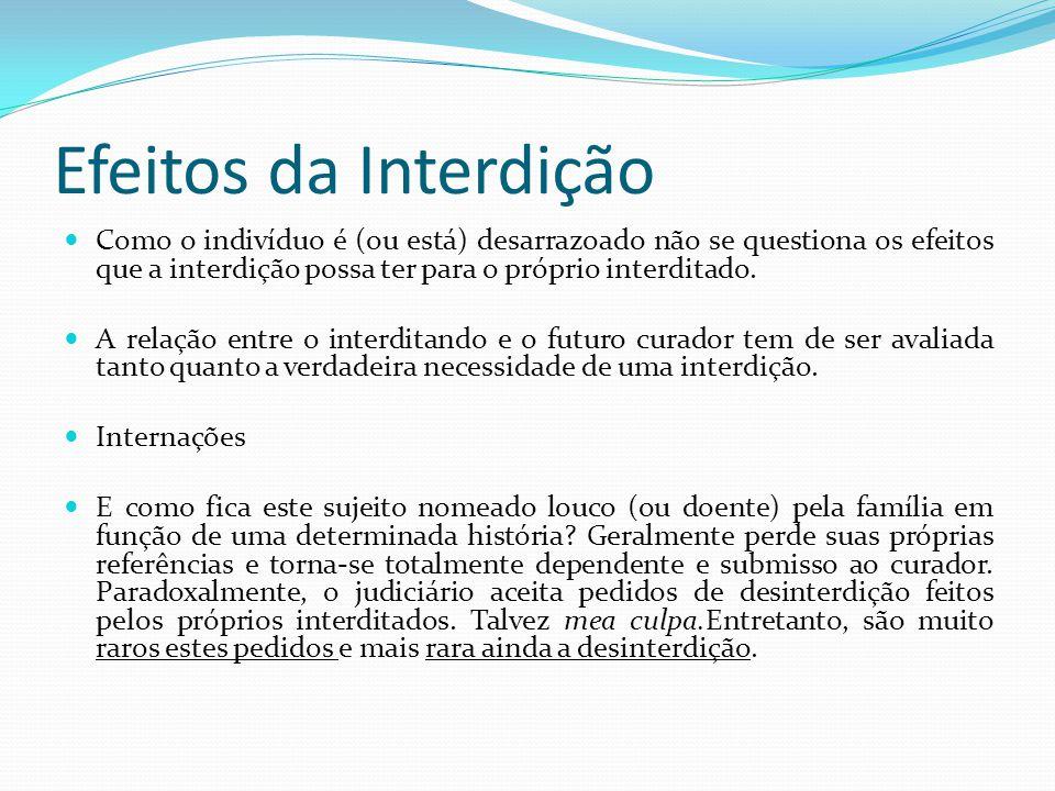 Efeitos da Interdição Como o indivíduo é (ou está) desarrazoado não se questiona os efeitos que a interdição possa ter para o próprio interditado.