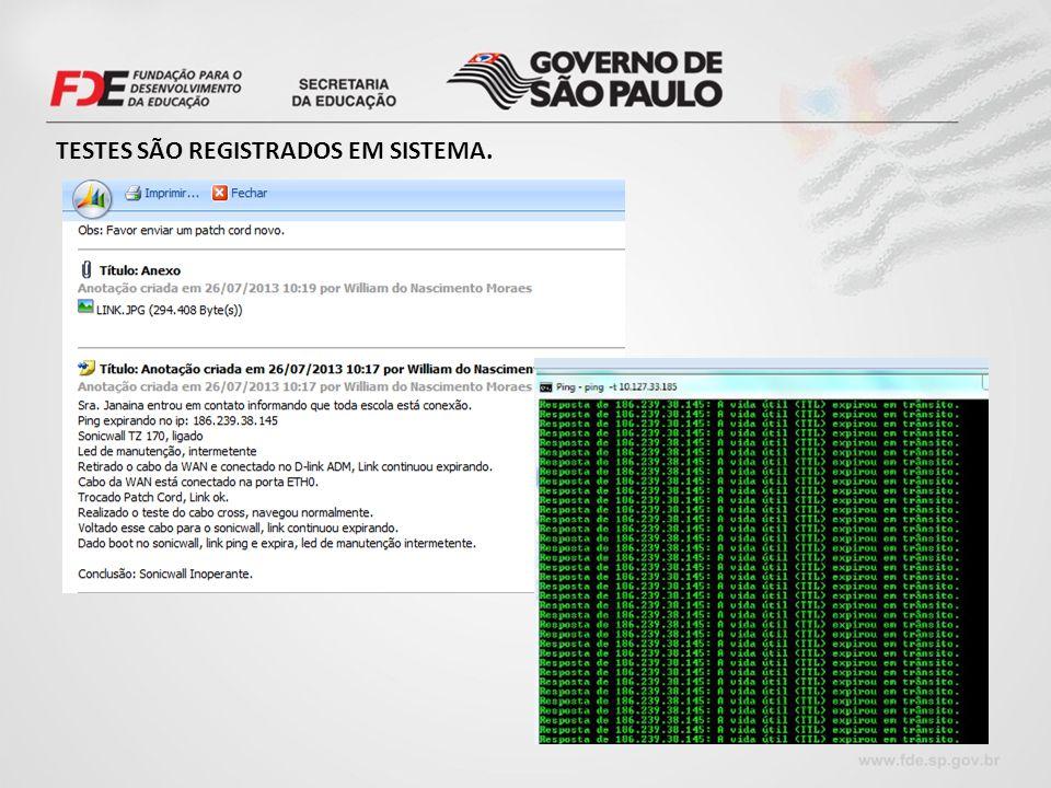 TESTES SÃO REGISTRADOS EM SISTEMA.